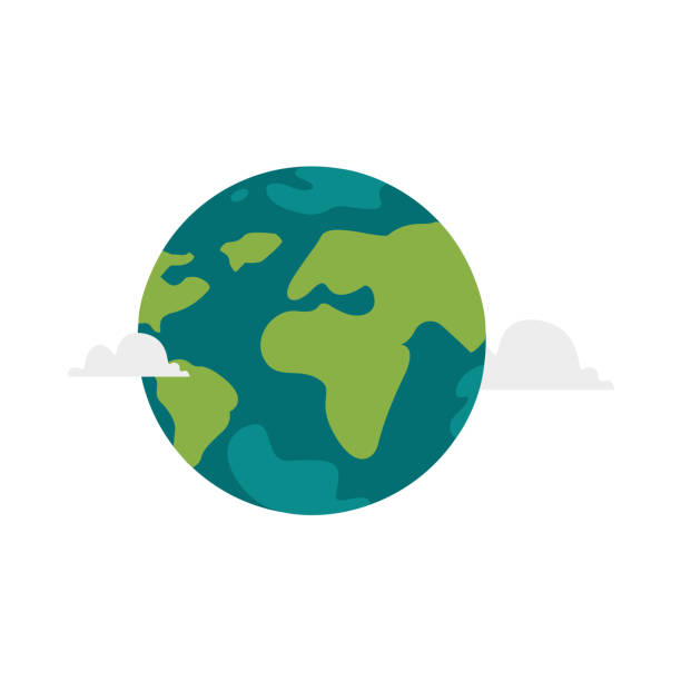 Vector cartoon flat globe illustration isolated Vector cartoon flat globe illustration isolated on a white background. Flat earth planet with continents, oceans and clouds. Web icon design object . Save the planet concept country geographic area stock illustrations