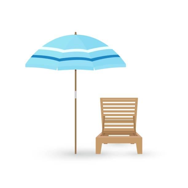 bildbanksillustrationer, clip art samt tecknat material och ikoner med vector tecknad platt illustration av trä strandstol och paraply på vit bakgrund. - spain solar