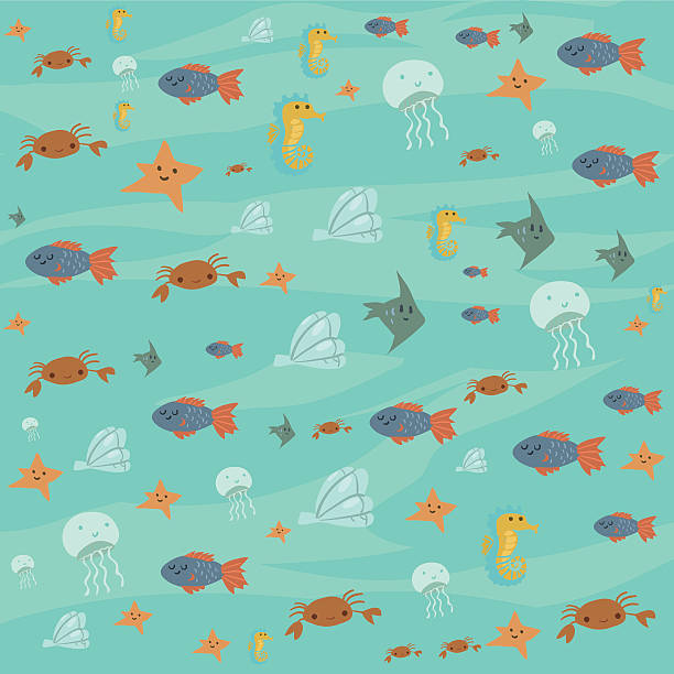 Vector cartoon flat ocean stuff background. vector art illustration