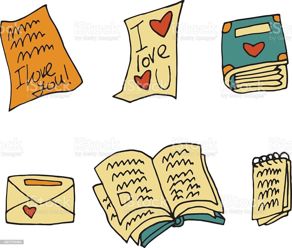 Vector cartoon flat paper books set icon stickers. vector art illustration