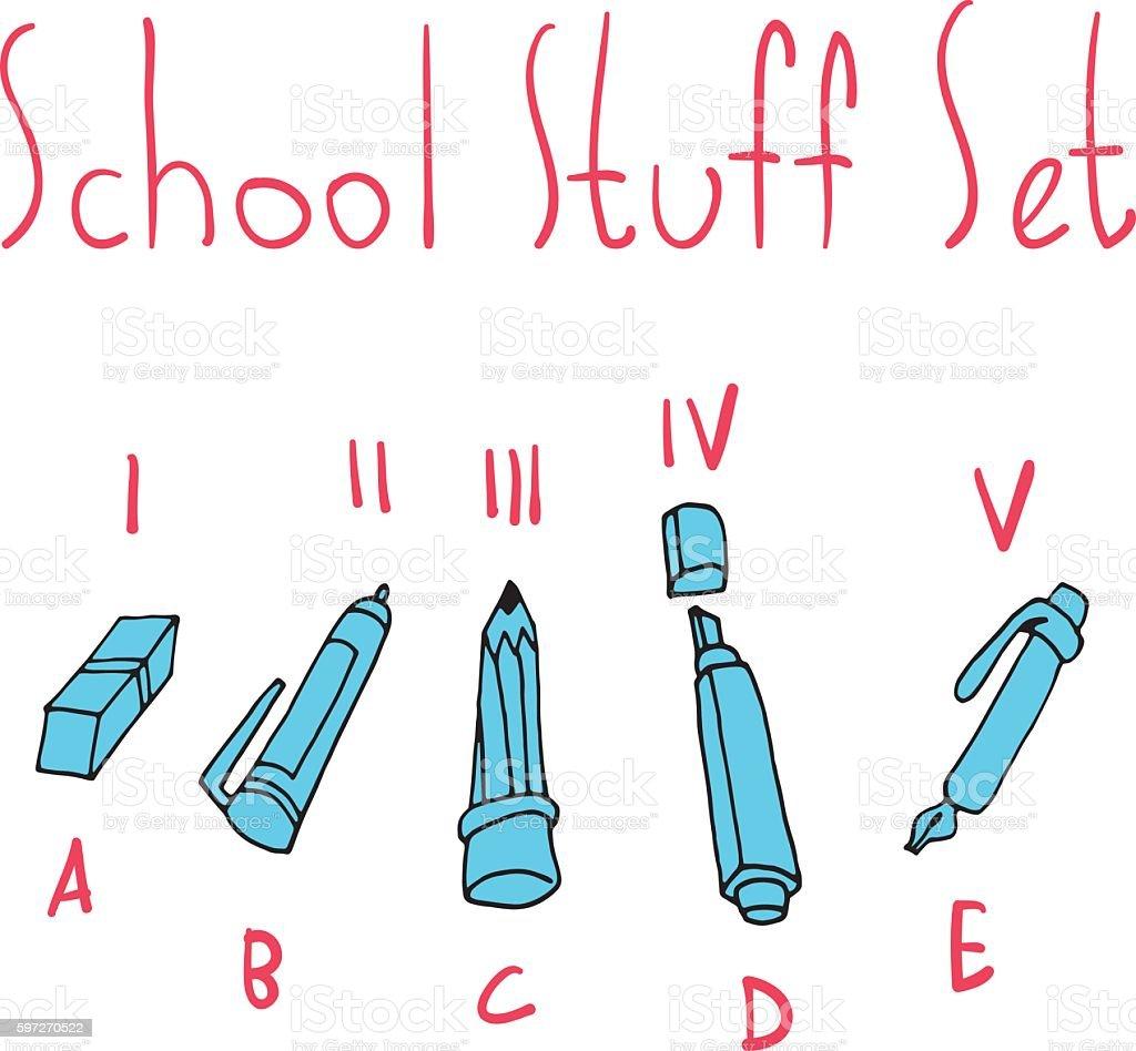 Vektor-Comic flache Schule set Symbol der Pfanne. Lizenzfreies vektorcomic flache schule set symbol der pfanne stock vektor art und mehr bilder von abstrakt