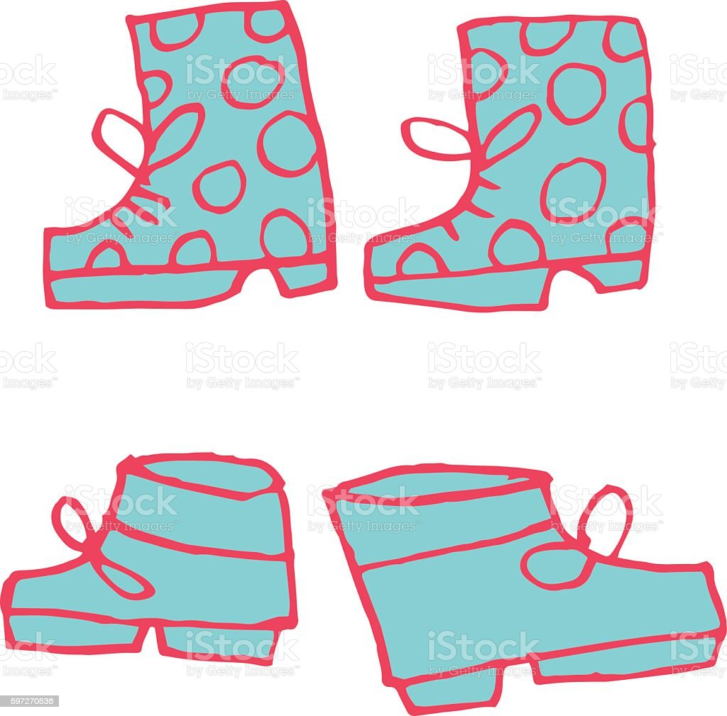 Vector cartoon flat shoes set icon stickers. vector art illustration