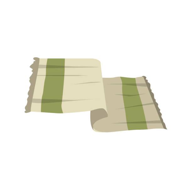 vector cartoon flache leichte grüne handtuch vektor stilikone.  stilisiert, bad und wellness zubehör isoliert auf weißem hintergrund. - waschküchendekorationen stock-grafiken, -clipart, -cartoons und -symbole