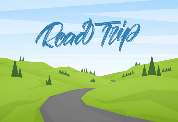 vector cartoon flat summer landscape with handwritten type lettering of road trip - road trip stock illustrations