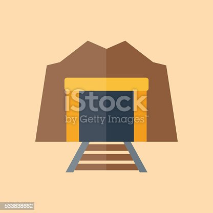 Vector illustration with flat cartoon tunnel enter with railway. Industrial old tunnel. Vector background, logo with railroad. Dark entrance and perspective railway. Illustration with isolated tunnel