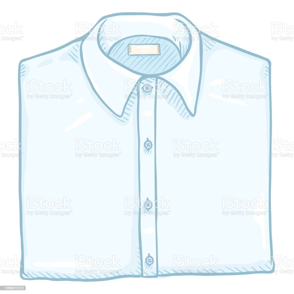 Vector Cartoon Folded White Classic Men Shirt Stock