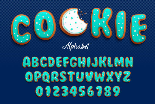 ilustrações de stock, clip art, desenhos animados e ícones de vector cartoon font and alphabet in the form of cookies in royal icing with decorative tiny balls made with sugar for decoration. isolated on darck transparent background - bolacha