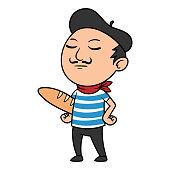 Vector Cartoon French Man Illustration