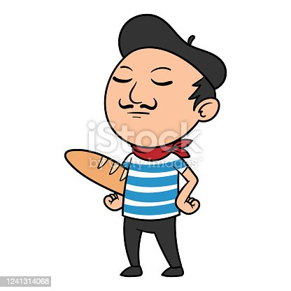 Vector Cartoon French Man Illustration