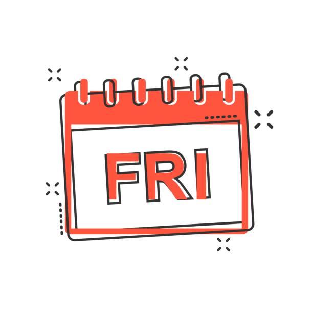 illustrations, cliparts, dessins animés et icônes de vecteur de dessin animé icône de page calendrier vendredi dans le style comique. pictogramme calendrier signe illustration. concept d'effet vendredi l'ordre du jour commercial splash. - calendrier de l'avant