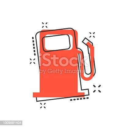 Vector cartoon fuel gas station icon in comic style. Car petrol pump sign illustration pictogram. Fuel business splash effect concept.