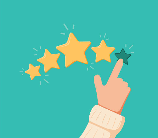 Vector cartoon funny illustration of Rating selection finger. Human hands put estimate. Rank. Five stars. Isolated objects. vector art illustration