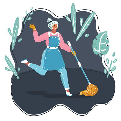 Vector cartoon funny illustration of Woman dancing with mopping for Floor