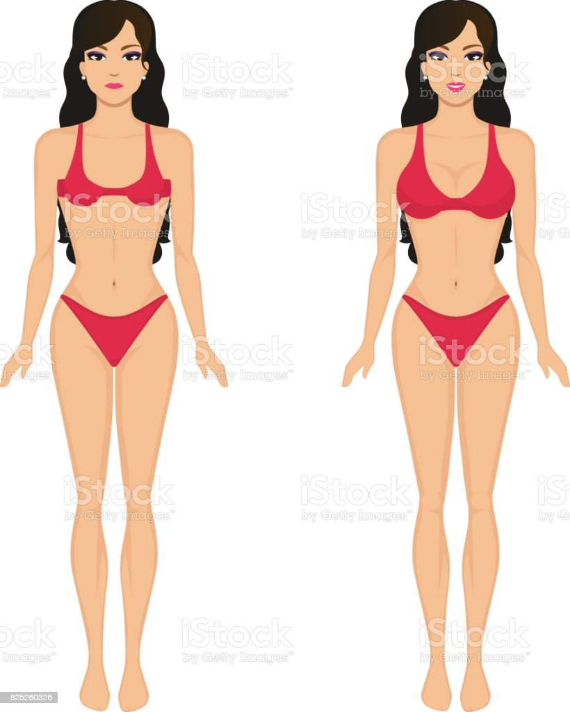 Vector cartoon girl breasts before and after vector art illustration