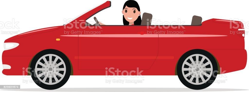 Vector cartoon girl riding in a red car cabriolet vector art illustration