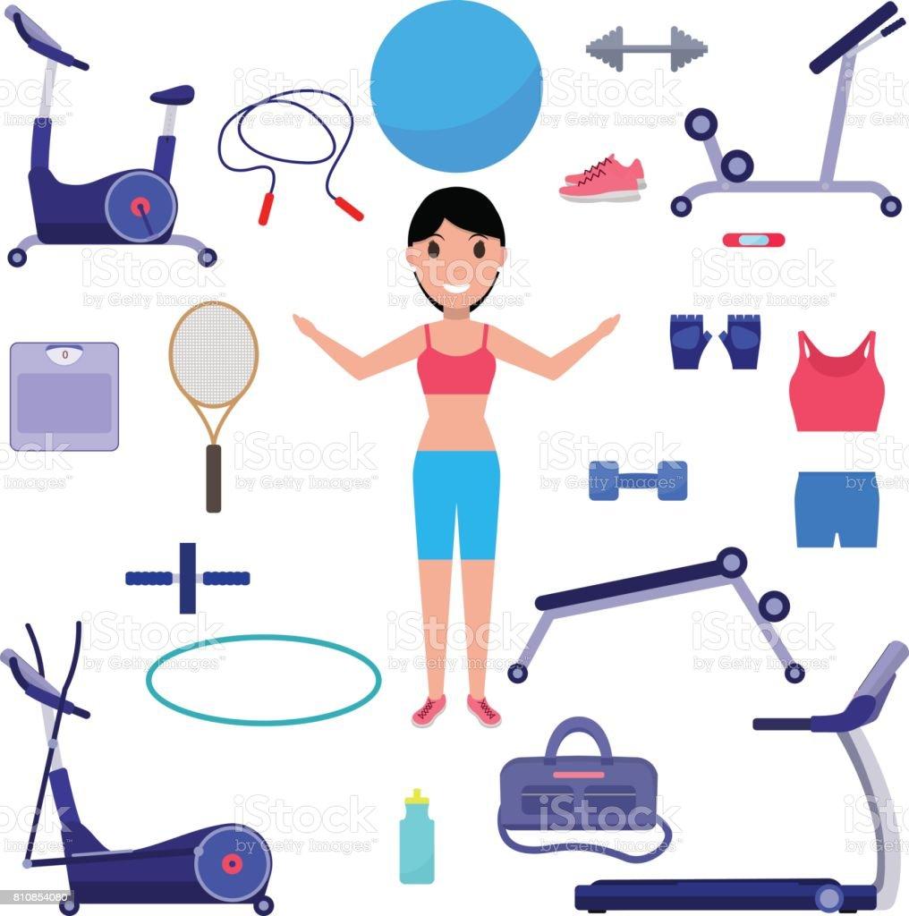 Vector cartoon girl with various sports equipment vector art illustration