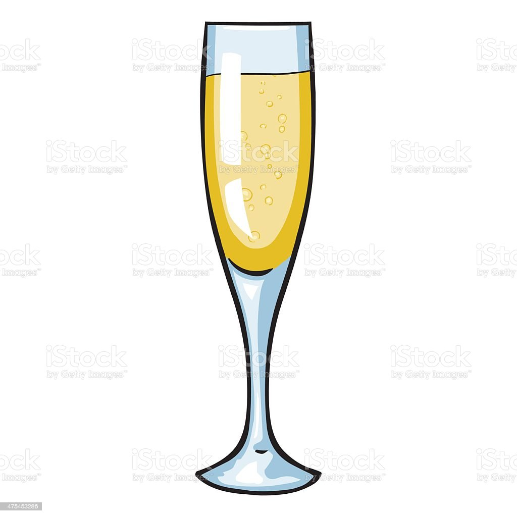 vector cartoon glass of champagne stock vector art 475453286 istock. Black Bedroom Furniture Sets. Home Design Ideas