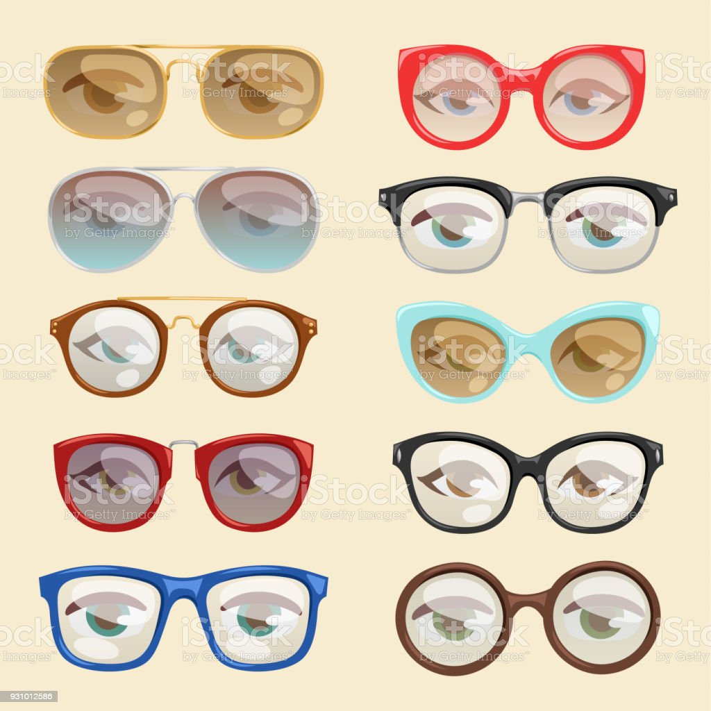 Vector cartoon glasses face eyes cartoon eyeglass frame or vector cartoon glasses face eyes cartoon eyeglass frame or sunglasses in shapes and accessories for hipsters jeuxipadfo Image collections