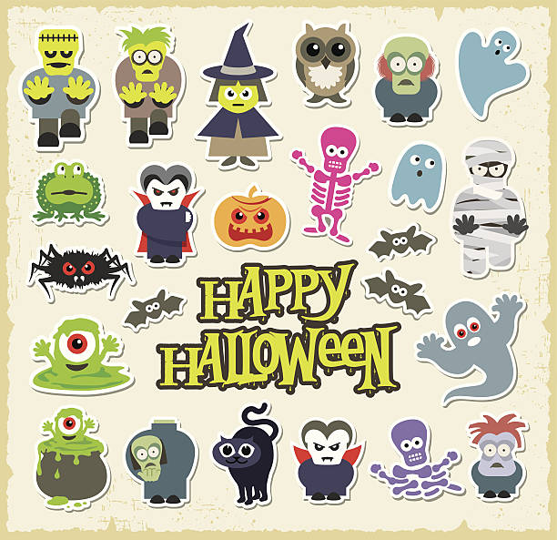Vector, cartoon, Halloween character stickers vector art illustration