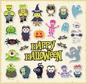 Vector, cartoon, Halloween character stickers