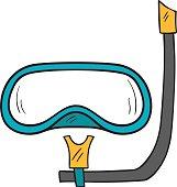 Vector cartoon hand drawn snorkeling mask