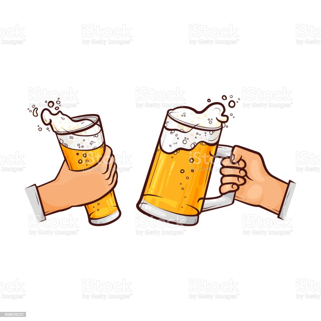 vector cartoon hands with beer glasses toasting