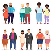 Vector Cartoon happy and smiling plus size people couples. Man and woman. Curvy, overweight fat people in casual dress clothes