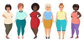 Vector Cartoon happy and smiling plus size woman females. Curvy, overweight girl in casual dress clothes.