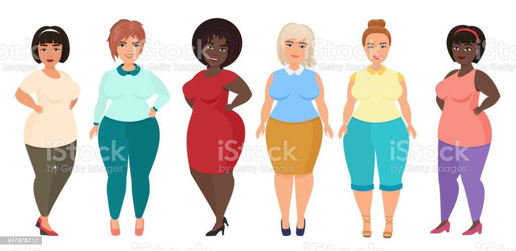 Vector Cartoon happy and smiling plus size woman females. Curvy, overweight girl in casual dress clothes. vector art illustration