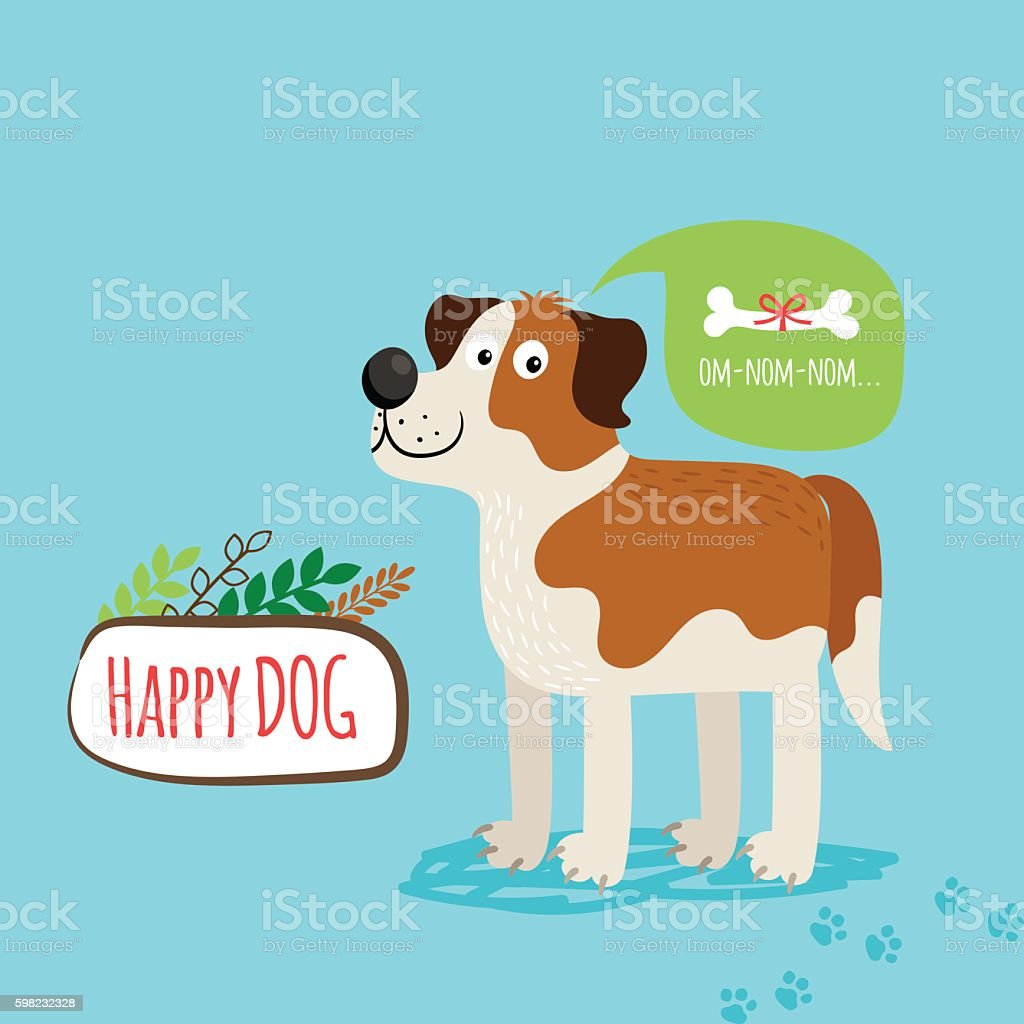 Vector cartoon happy dog card ilustração de vector cartoon happy dog card e mais banco de imagens de animal royalty-free