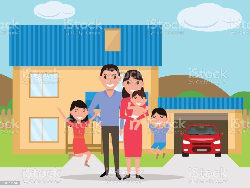 Een Nieuw Huis : Vector cartoon gelukkige familie een nieuw huis gekocht