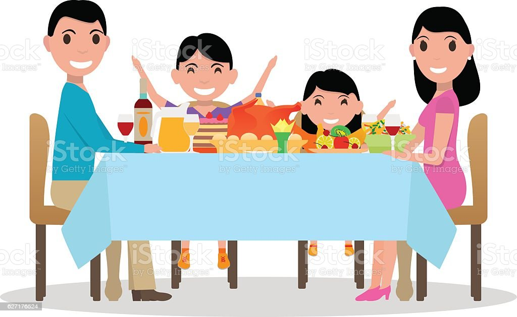 Vector cartoon happy family festive dinner table - Illustration vectorielle
