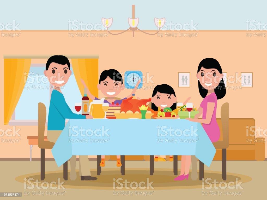 Vetor desenho animado feliz festivo jantar mesa família - ilustração de arte em vetor