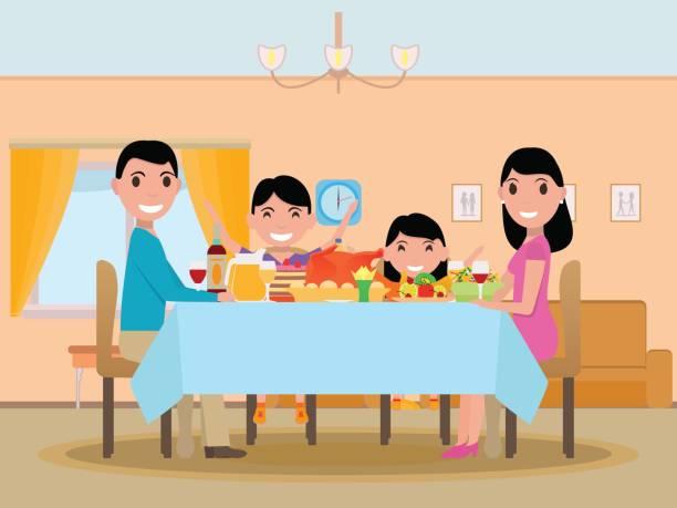 ベクトル漫画幸せ家族お祝いディナーのテーブル - 家族での夕食点のイラスト素材/クリップアート素材/マンガ素材/アイコン素材
