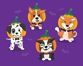 Vector cartoon happy halloween cute dogs