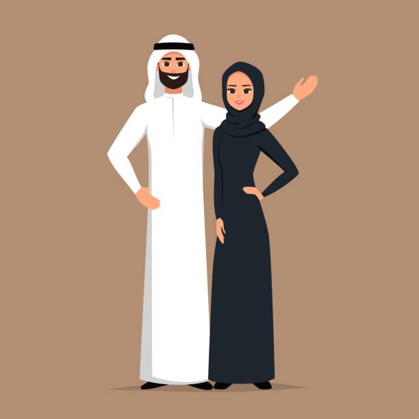 向量卡通快樂的沙特男人和女人擁抱。商業回教人在傳統服裝載體例證。 - emirati woman 幅插畫檔、美工圖案、卡通及圖標