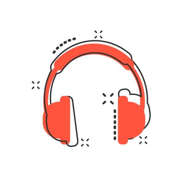 bildbanksillustrationer, clip art samt tecknat material och ikoner med vektor tecknad hörlursikon i komisk stil. hörlurar headset tecken illustration piktogram. hörlurar affärsidé splash effekt. - headset