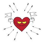 Vector cartoon heart attack.