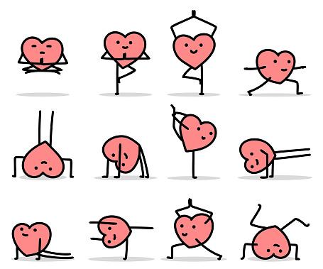 vector cartoon heart characters doing yoga