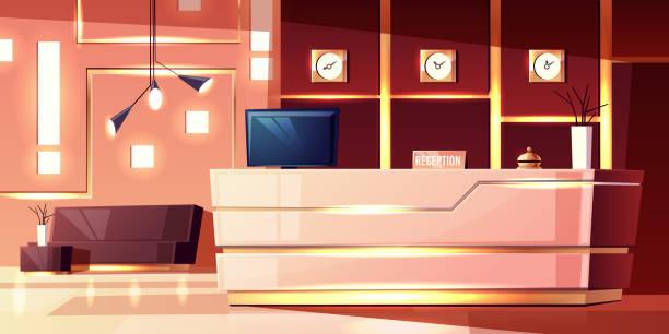 векторный мультипликационный прием отеля. вестибюль гостиницы - hotel reception stock illustrations