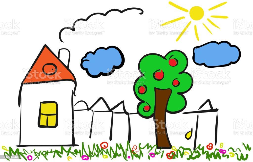 Vector Cartoon Haus Hand Gezeichnet Abbildung Mit Haus Baum Zaun