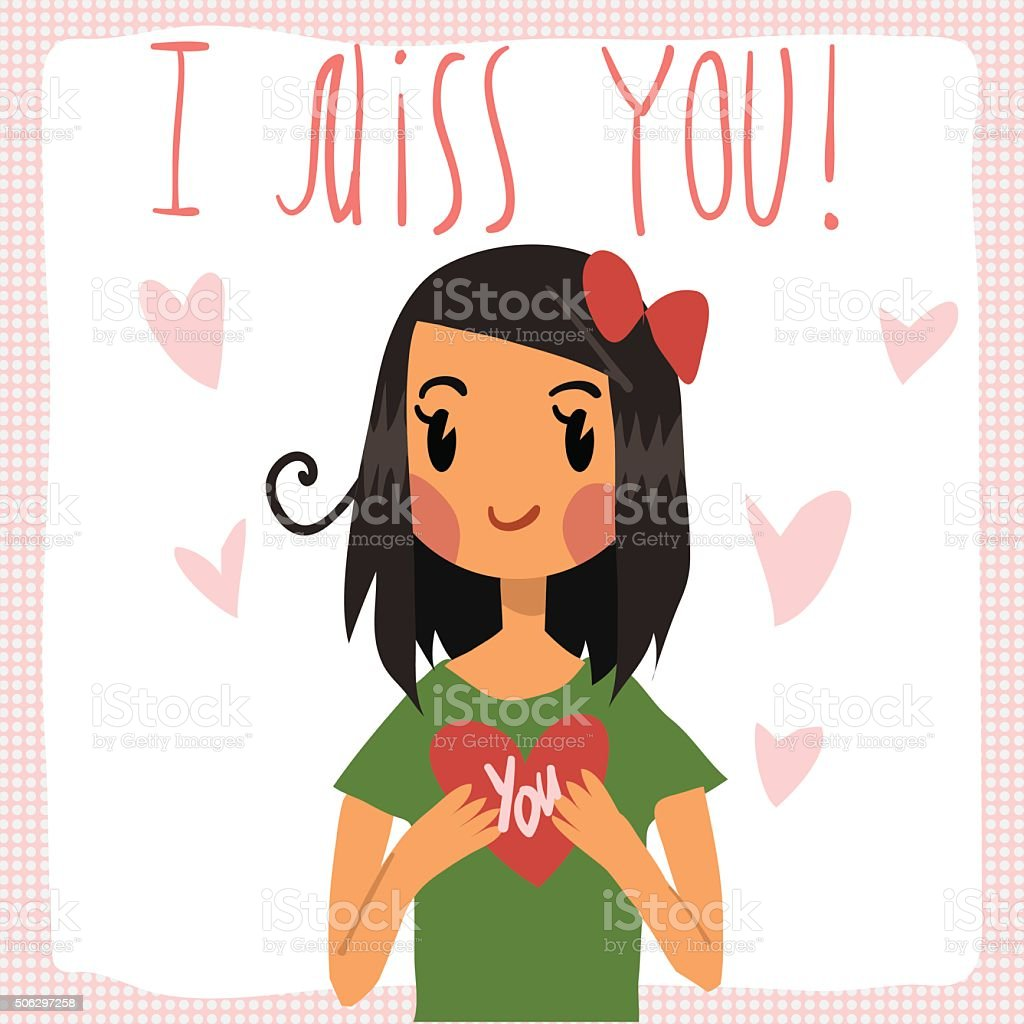 Vector cartoon i miss you flat greeting card stock vector art more vector cartoon i miss you flat greeting card royalty free vector cartoon i miss m4hsunfo