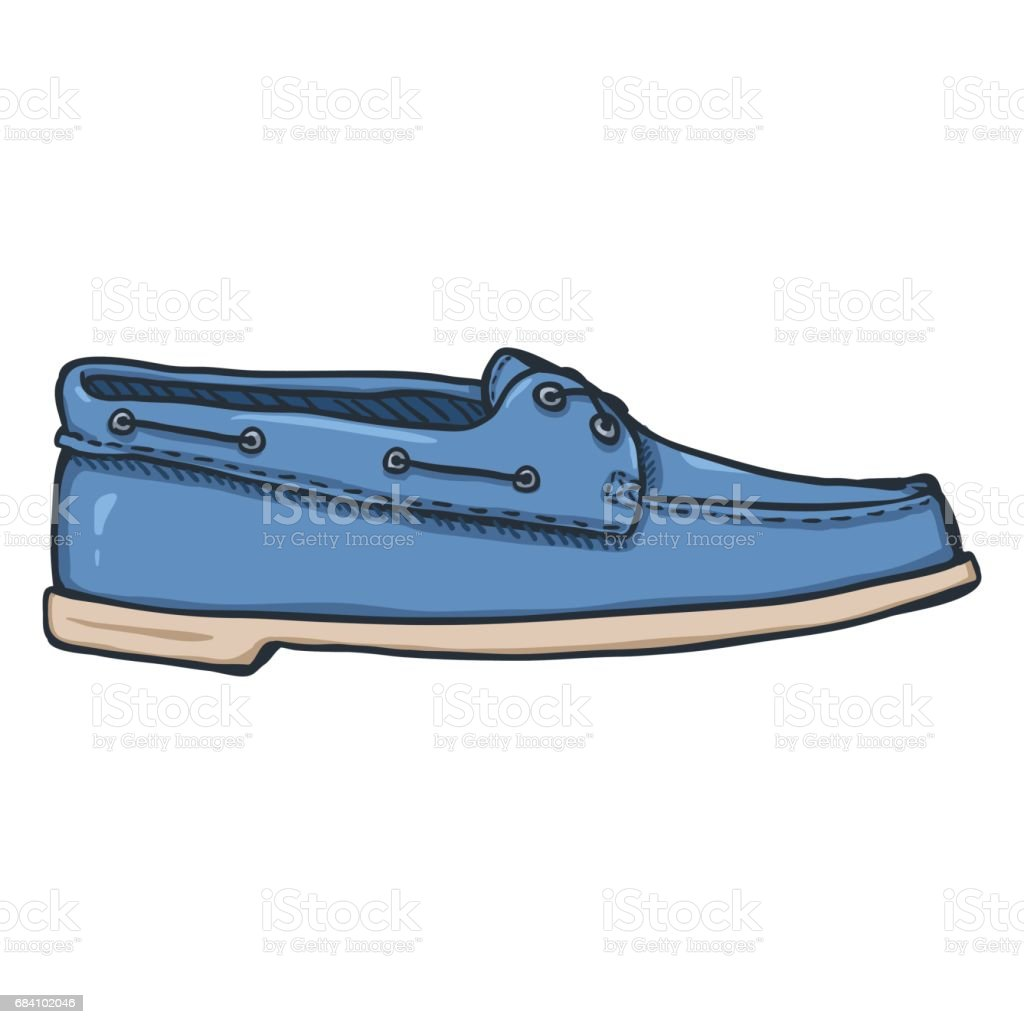 Vector Cartoon Illustration - Blue Topsider Men Shoes vector art illustration