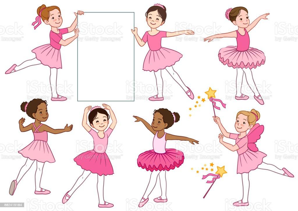 귀여운 다문화 작은 발레리 나 소녀 캐릭터 핑크 레 오타 드 투투 스커트를 입고의 벡터 만화 그림 모음. 발레, 춤, 창조적인 운동 테마 디자인 요소 벡터 아트 일러스트