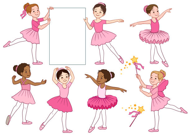 Vector cartoon illustration collection of cute multicultural little ballerina girls characters wearing pink leotards and tutu skirts. Ballet, dance, creative movement themed design elements vector art illustration