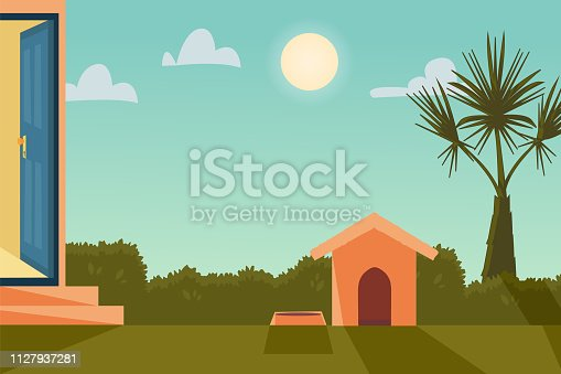 Vector cartoon illustration home outside concept with open entrance door. Background with house garden in sunny weather with bush, palm and doghouse