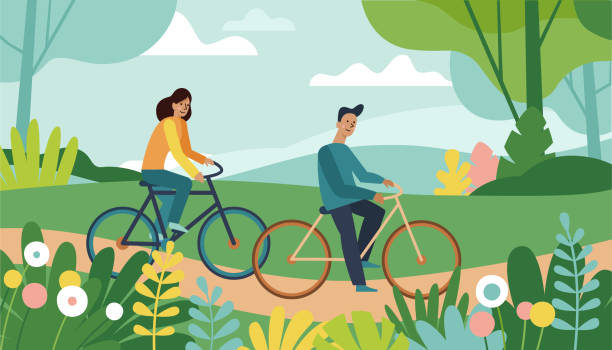Vector cartoon illustration in simple style with characters - man and woman riding bicycles vector art illustration
