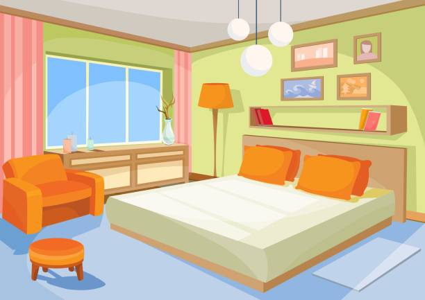 Vector cartoon illustration interior orange-blue bedroom, a living room with a bed, soft chair Vector cartoon illustration interior orange-blue bedroom, a living room with a bed, soft chair, stool, chest of drawers, floor lamp. bedroom stock illustrations