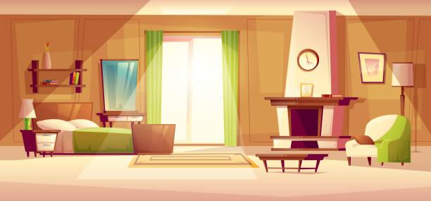 vektor-cartoon-illustration von einem schlafzimmer innenraum - bodenbetten stock-grafiken, -clipart, -cartoons und -symbole