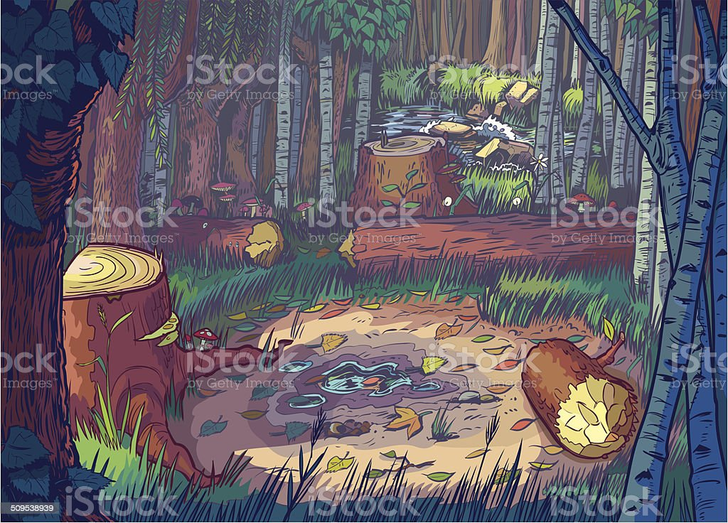 Vector Cartoon Illustration of A Forest Clearing Scene vector art illustration